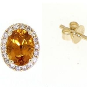 Citrine 14K Yellow Gold Diamond Stud Earrings